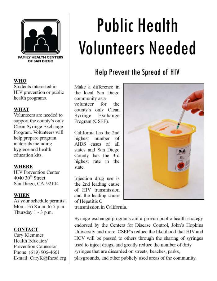 Clean Syringe Exchange Program (CSEP) - Volunteers Needed