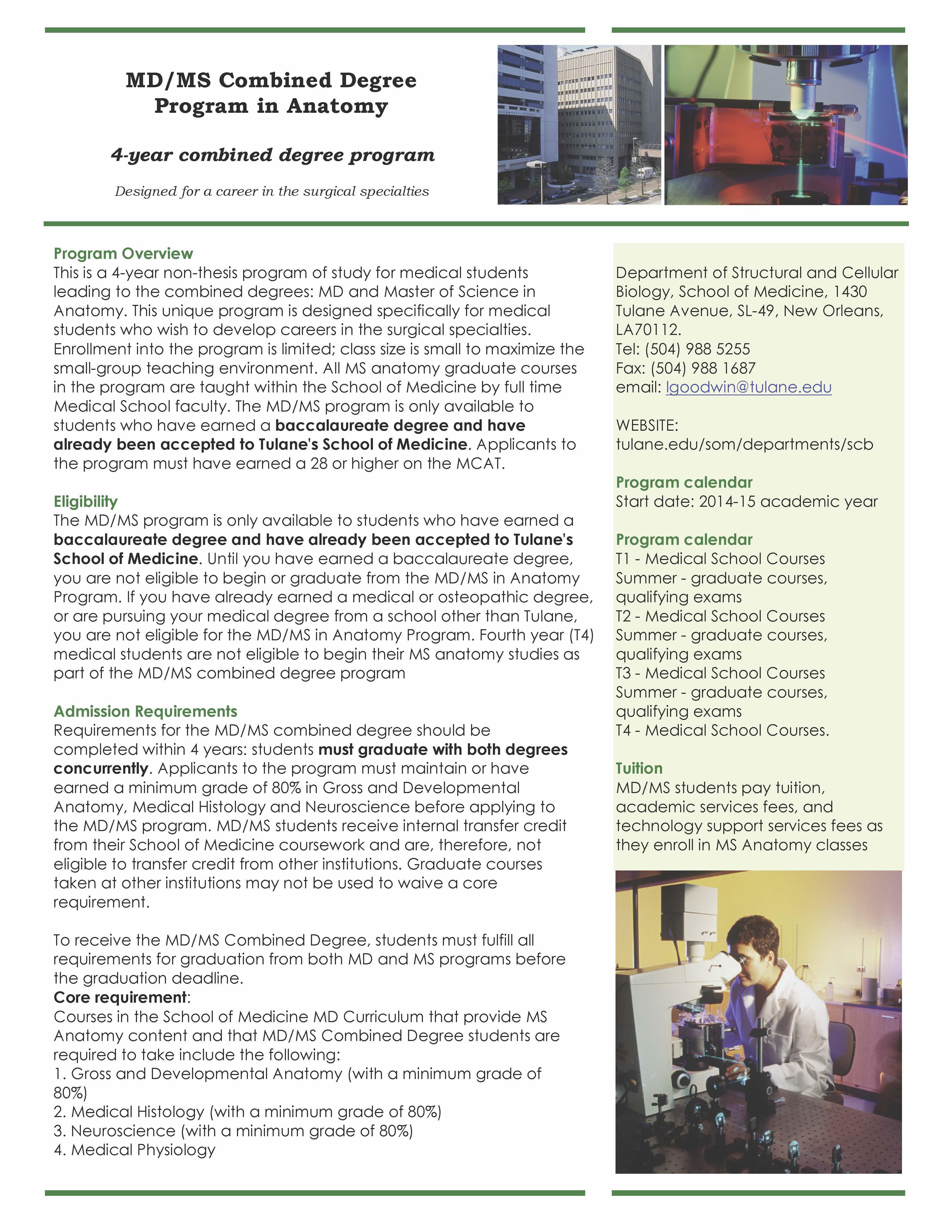Tulane University Medical School – Master of Science Program in ...