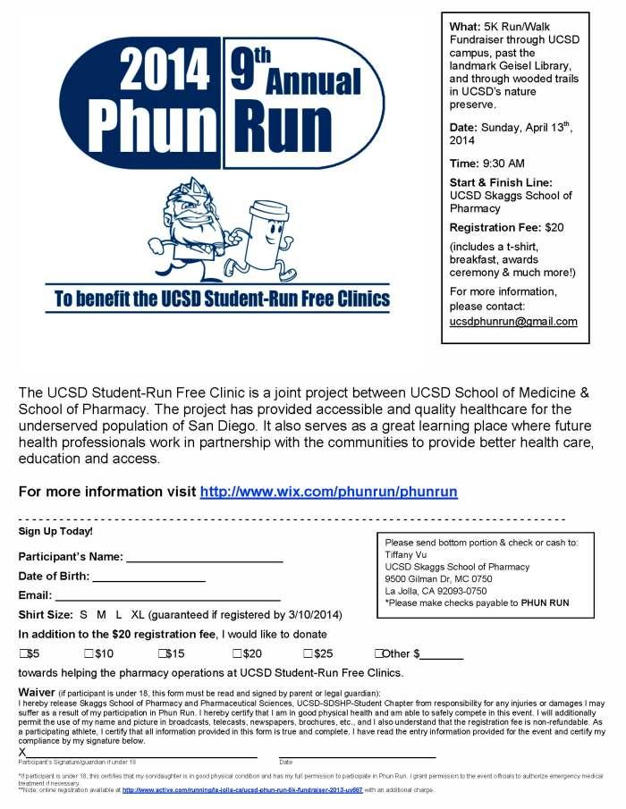PhunRun 2014 Registration Form