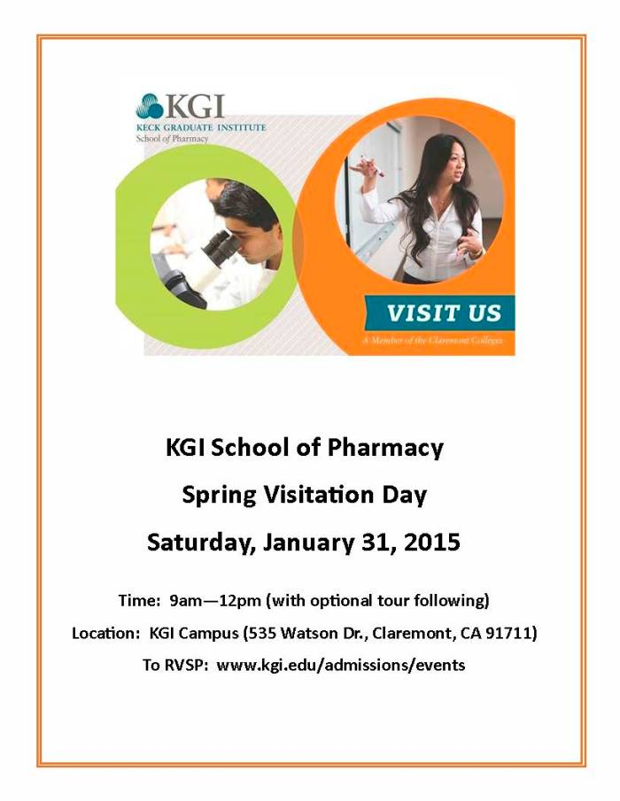 KGI PharmD Spring Visitation Day Flyer