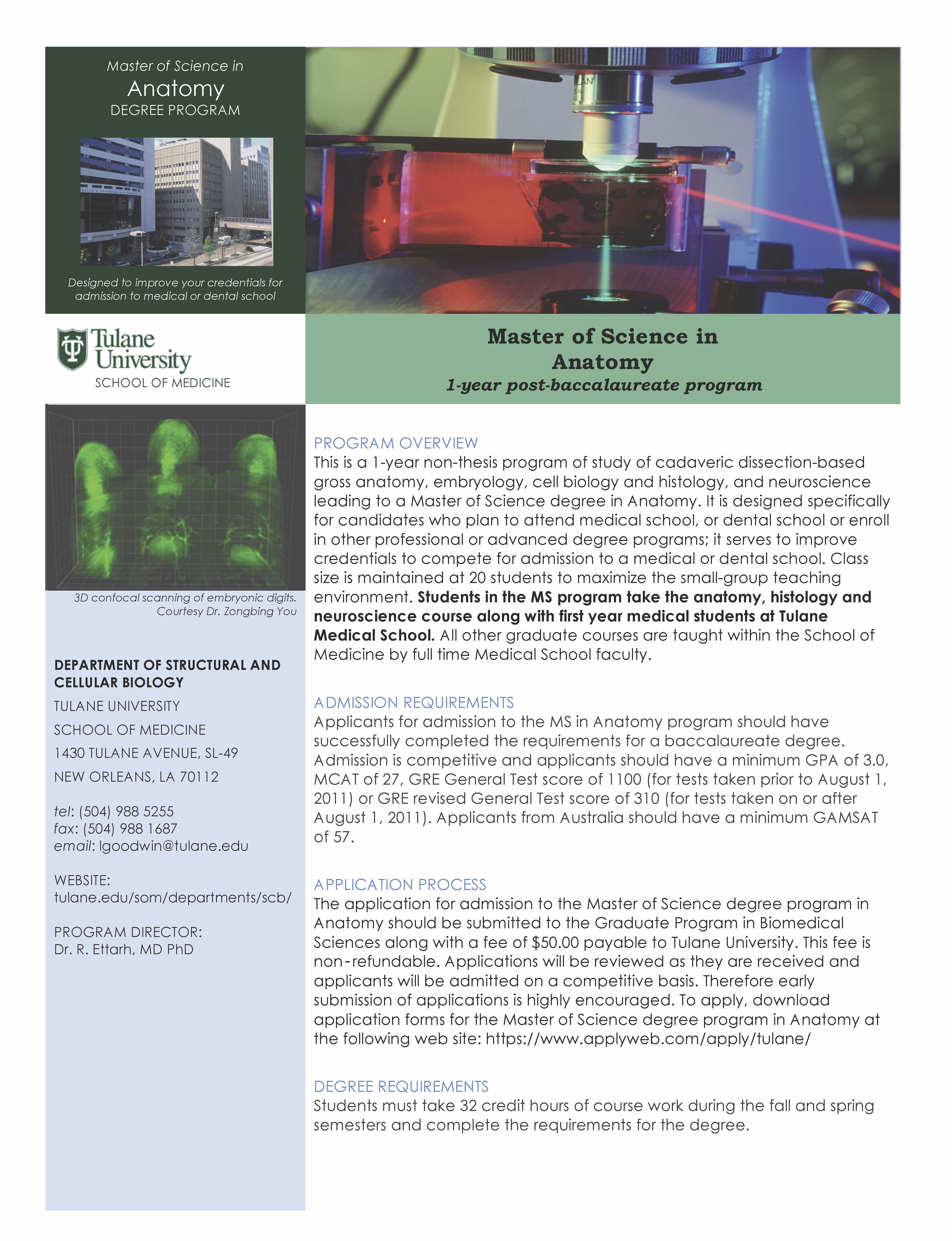 MS Anatomy at Tulane | UC San Diego - Biology Bulletin