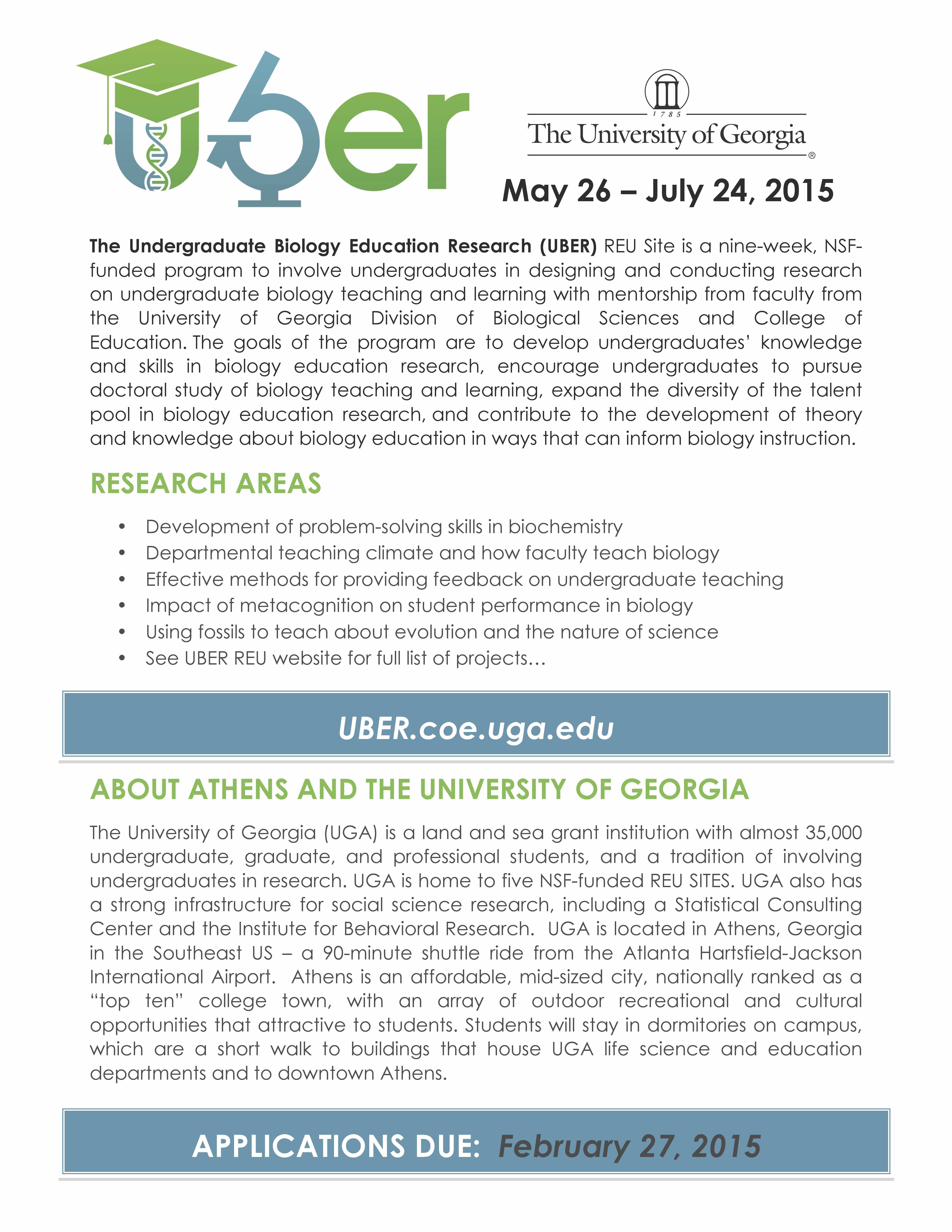 Undergraduate Biology Education Research (UBER) REU Site at