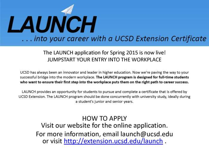 LAUNCH application for Spring 2015