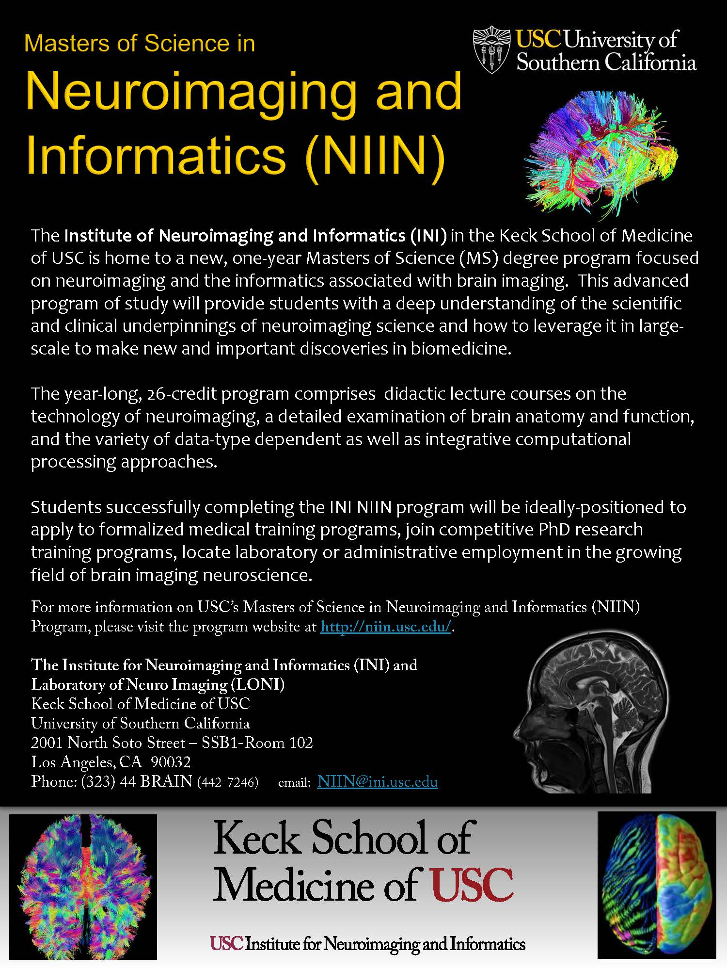 NEW USC Masters of Science in Neuroimaging and Informatics