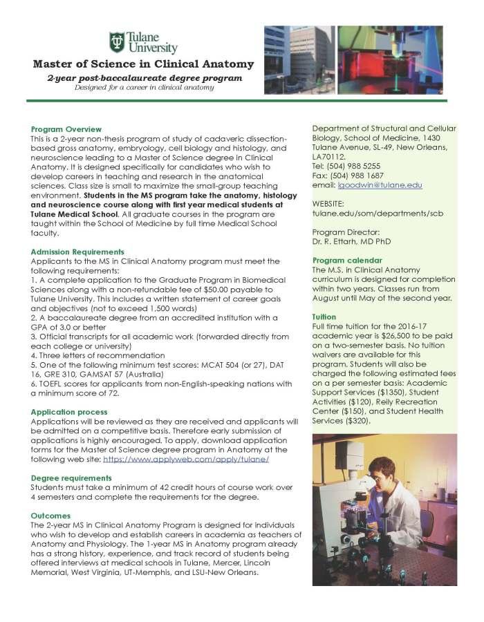Tulane Master of Anatomy | UC San Diego - Biology Bulletin