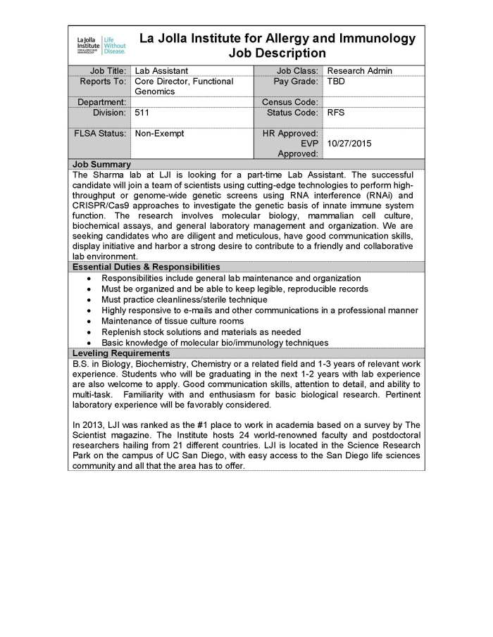Sharma Lab Assistant Position