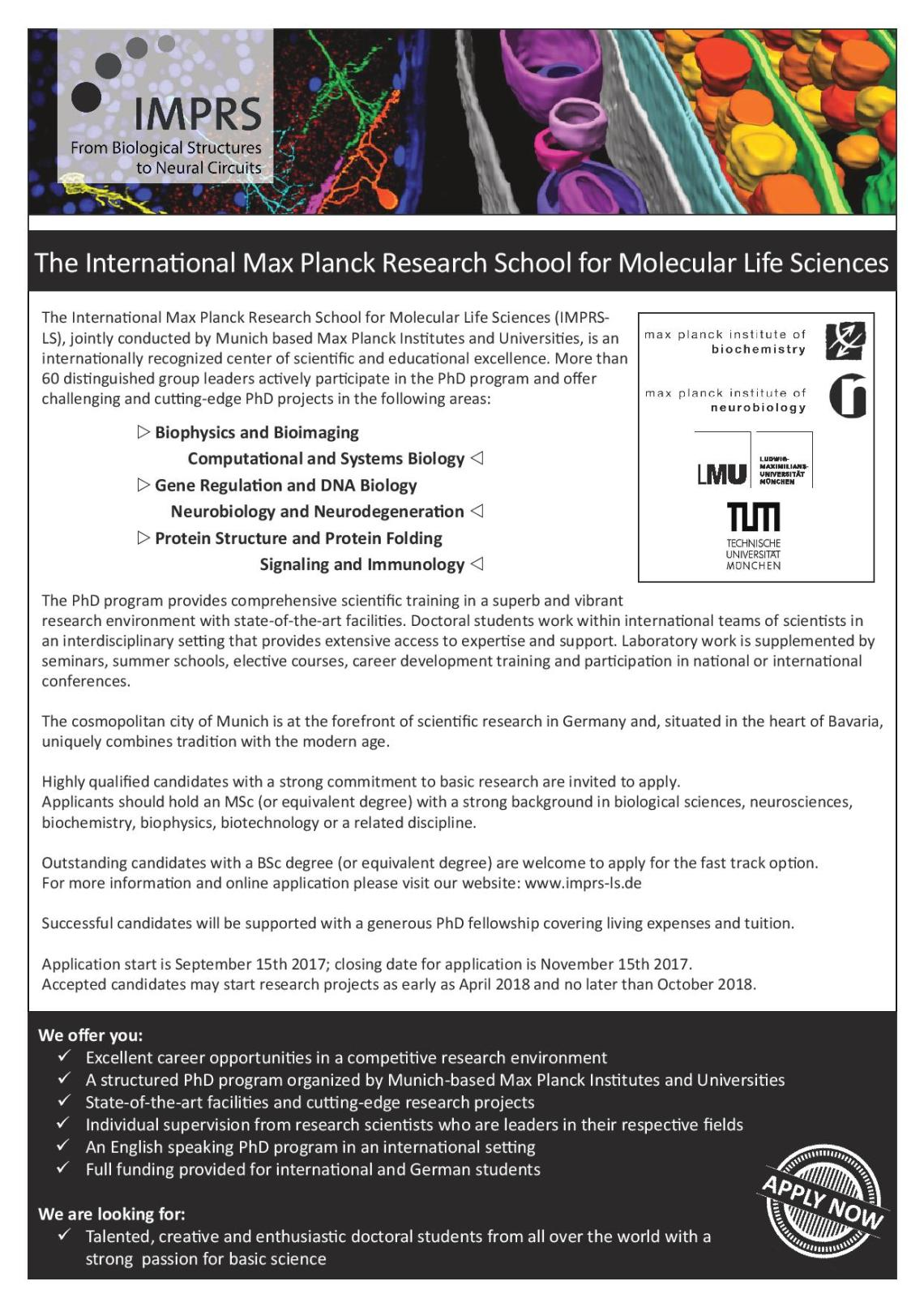 2017 – 2018 PhD Applications | International Max Planck