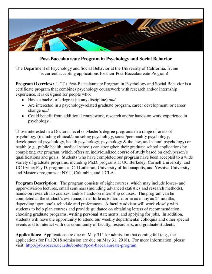 Post-Baccalaureate Program in Psychology & Social Behavior | UC ...