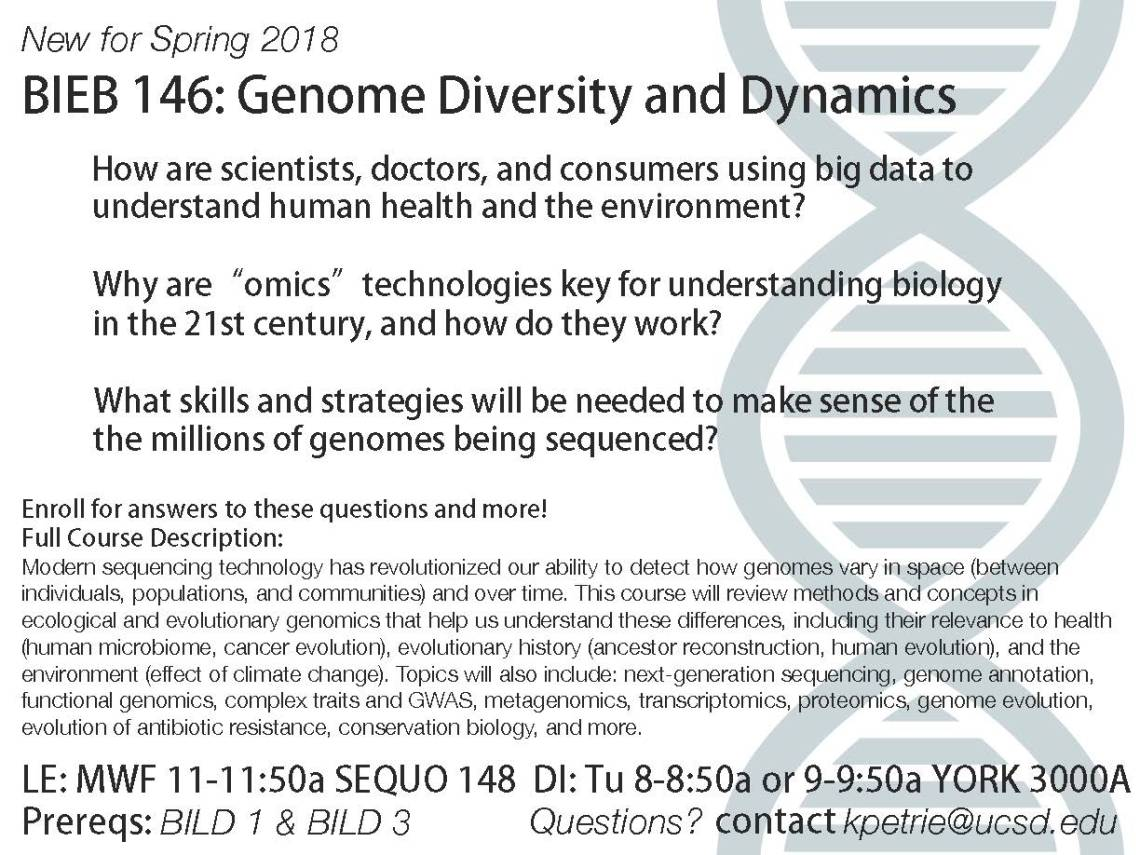New Spring 18 Course Offering | BIEB 146: Genome Diversity