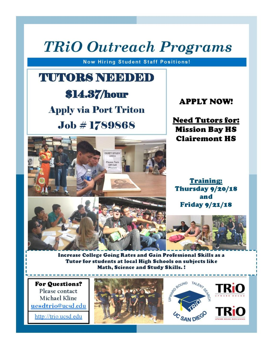 Student Job Opportunity | UCSD TRIO Outreach Program – UC